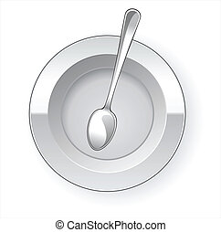 Empty dinner plate and spoon vector drawing