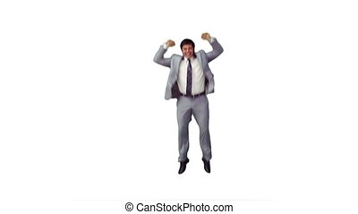 An excited businessman is jumping