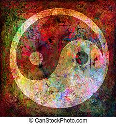 yin and yang symbol on background grunge