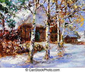 Inverno, paisagem, quadro