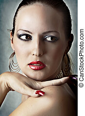 woman with red lips and long nails - Sexy face of beautiful...