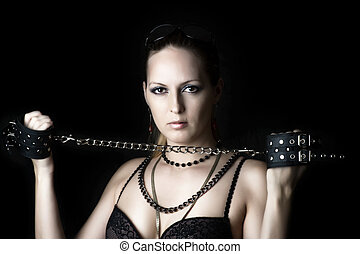 Sexy woman with handcuffs - Sexy woman - lady or madam in...