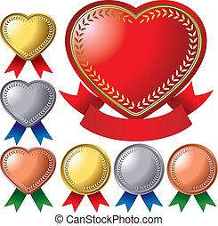 medal set - Set of the heart medal