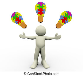 3d man puzzle bulbs - 3d render of man with puzzle bulb. 3d...