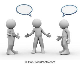 3D, pessoas, falando