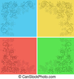 Abstract floral background, set