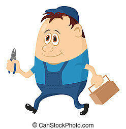 Worker with pliers - Worker, cartoon character, man in blue...