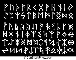 Silver Runic Script Elder Futhark and Other Runes used all...