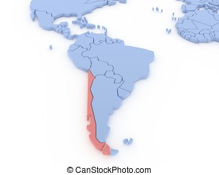 Three-dimensional map of Chile isolated. 3d