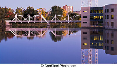 Urban Bridges - Modern city bridges with reflection