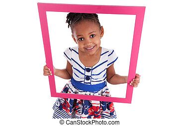 Little african american girl holding a picture frame