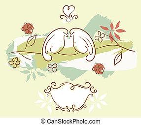 love birds - lovely wedding invitation illustration