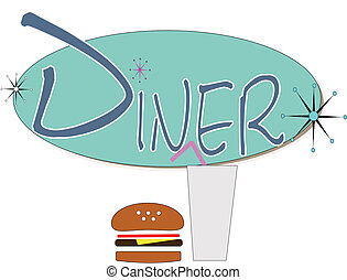 diner sign with burger and drink over white in retro style