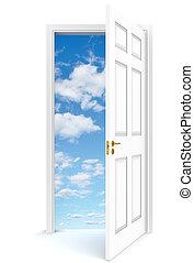 Open door to sky - Open door to sky, white background