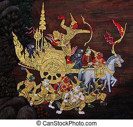 Thai Mural Painting on the wall, Wat Phra Kaew, Bangkok,...