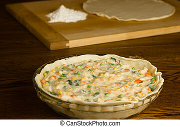 Chicken Pot Pie Preparation - Preparation of homemade...