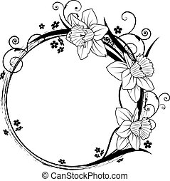floral frame - vector frame with flowers of narcissus and...