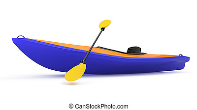 kayak isolated on white background 3d rendered image