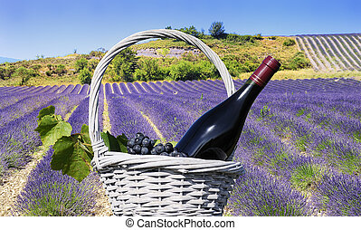 Lavender and red wine in the landscape - mage shows a...