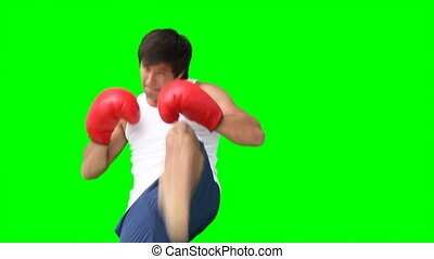 A man practising his kick-boxing in front of a green...