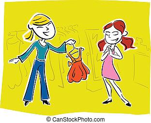 prom dress picking girl illustration
