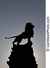 Majestic - A majestic pose of a bronze lion outside Vienna...