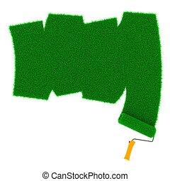 Grassy Green Road Drawn by Roller