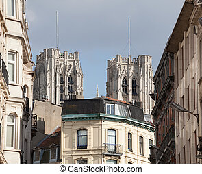 Cathedral of St Michael over homes - Towers of Cathedral of...