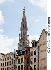 Brussels City Hall tower over buildings - Ornate Brussels...
