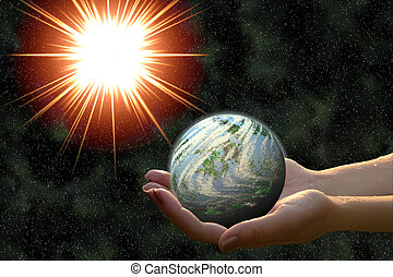 earth-formed planet in woman hands