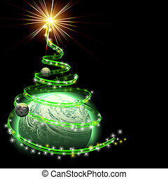 planet with abstract christmas tree spiral