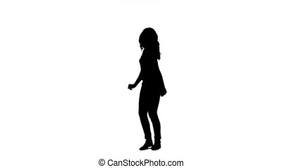 A silhouette dancing woman