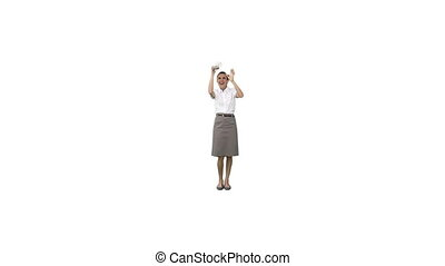 An excited businesswoman counting money - An excited...