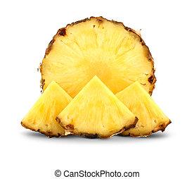 abacaxi, fatias, isolado, branca