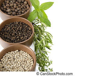 spice in bowls and herbs