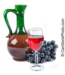 old ceramic decanter and glass with wine