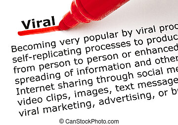 Viral underlined with red marker - The word Viral underlined...