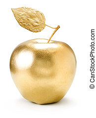 Gold apple - Gold apple isolated on white background