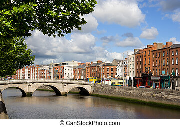 Dublin Cityscape - Scenic city of Dublin with an old Mellows...