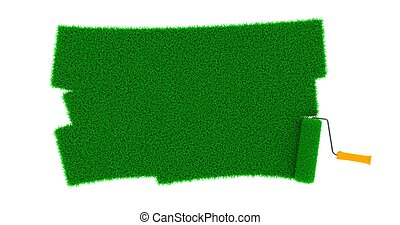 Grassy Green Road Drawn by Roller. Spring Concept