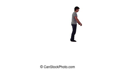 Energetic man doing a backflip