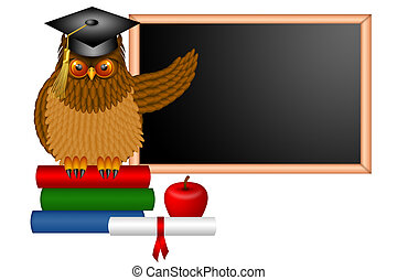 Wise Owl Professor Illustration - Wise Horned Owl Professor...