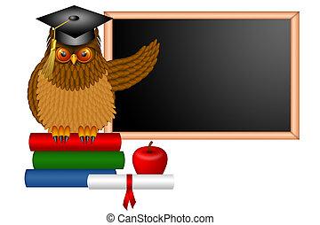Wise Owl Professor Illustration - Wise Horned Owl Professor...