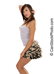 Young Asian American Teen Girl Short Skirt - Young Teen Girl...