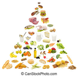 food pyramid on white background - variety of food on white...