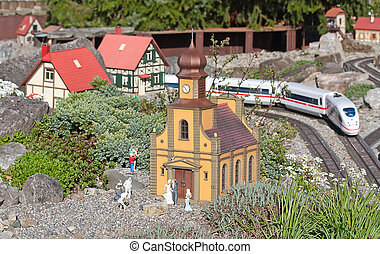 Miniature model of the train station