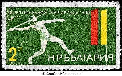 BULGARIA - CIRCA 1966 Thrower - BULGARIA - CIRCA 1966: A...