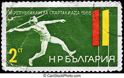 BULGARIA - CIRCA 1966 Thrower - BULGARIA - CIRCA 1966: A...