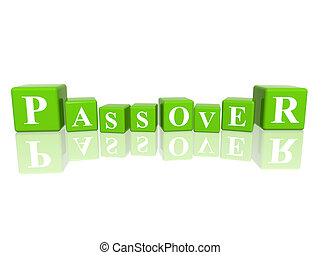 Passover in 3d cubes - 3d green cubes with letters makes...