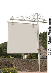 Blank sign outdoors in Great Britain